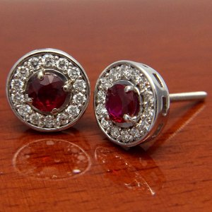 18ct White Gold Ruby and Diamond Halo Earrings