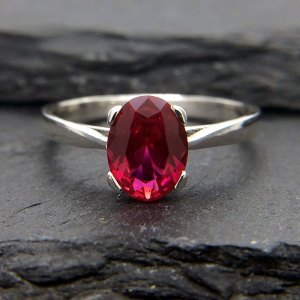 Sterling Silver 8x6mm Oval Ruby Solitaire Ring