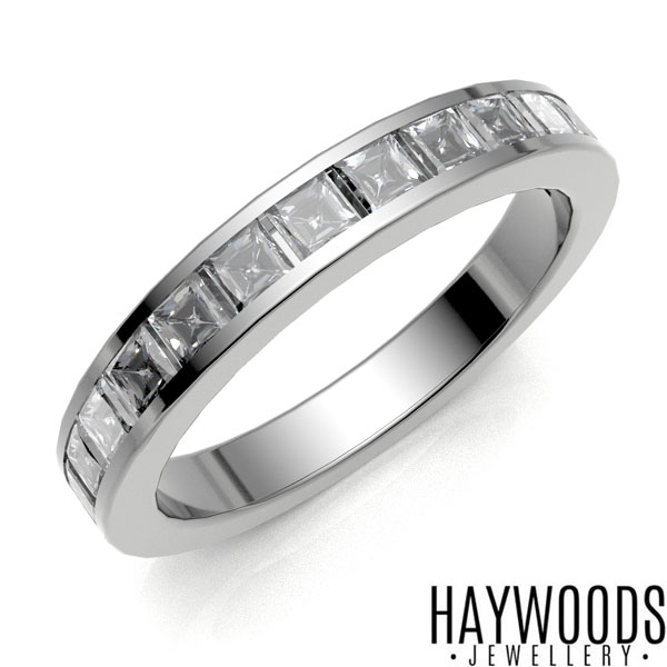 White Gold Princess Cut Half Eternity Ring