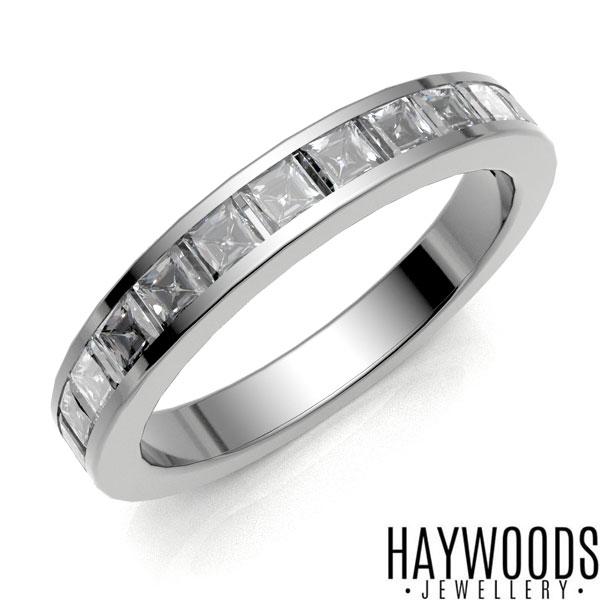 White Gold Princess Cut Half Eternity Ring