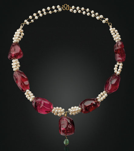 Spinel, Pearl and Emerald Necklace