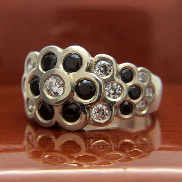 18ct White Gold Black and White Diamond Cocktail Ring
