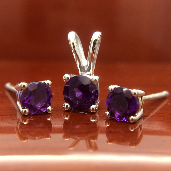Sterling Silver Amethyst Pendant and Earrings Set