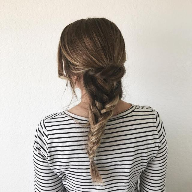 A crown twist with a fishtail braid! as the dayhellip