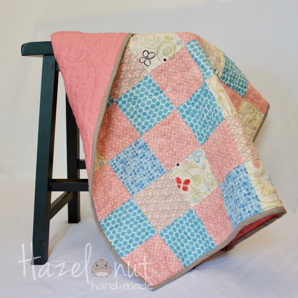 Sweet Dusty Pink and Blue Baby Quilt