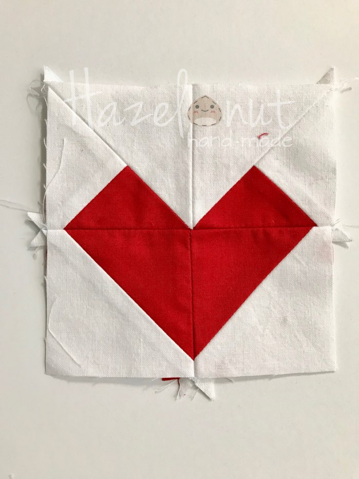 Quilted Heart Mini Block by Hazelnut Handmade