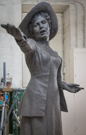 Photo of the final Emmeline Pankhurst sculpture in clay by Hazel Reeves, photo Nigel Kingston