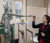 Hazel inspects Our Emmeline armature - photo by Nigel Kingston