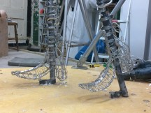 Our Emmelines feet armature - sculpture and photo by Hazel Reeves