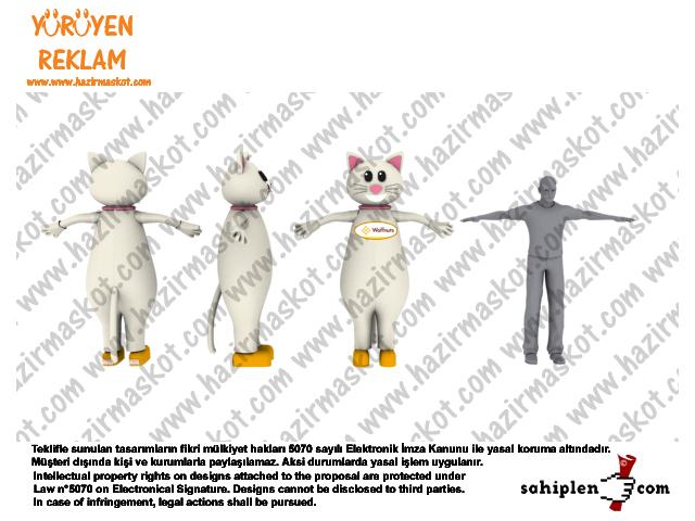 Kedi maskot kostümü / Waffle / Lokma