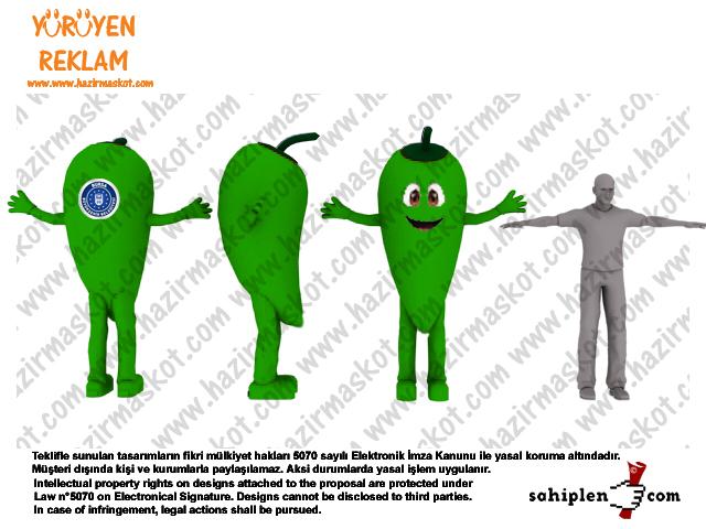 Yeşil Biber Maskot Kostümü