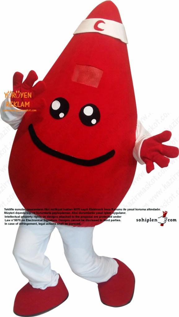 Damla Maskot kostümü / Kızılay Kan Bağışı