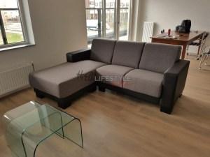 Kleine lounge bank zwart grijs hoofddorp