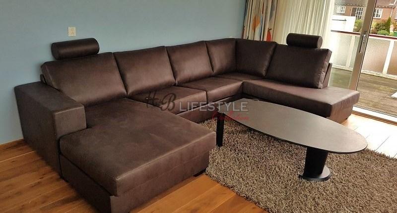 U-Lounge hoek bankstellen leefhoek bruin