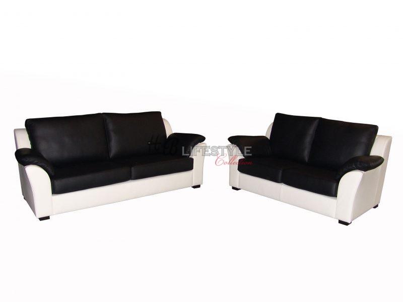 Zwart Wit Leren Bankstel.Model Palermo 3 2 Zits Hb Lifestyle Collection