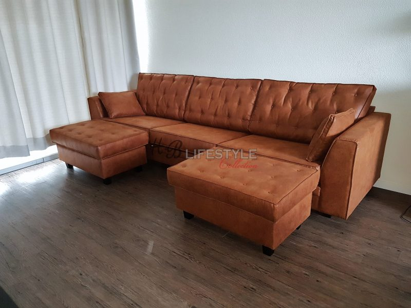 Cognac Kleurige Leren Hoekbank.Cognac Kleur Bank Hb Lifestyle Collection