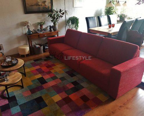 Lange bank 4,5 zitbank rood stof