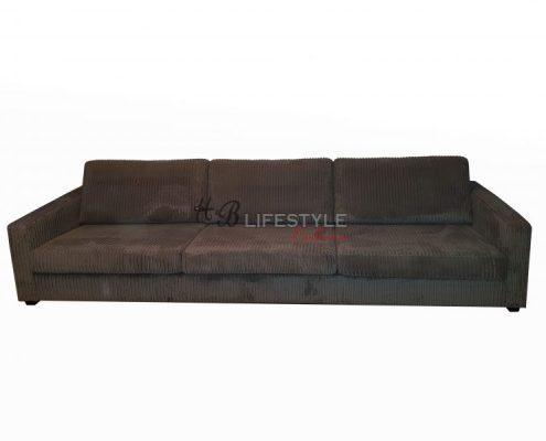 Grote zitbank ribstof kleur grijs