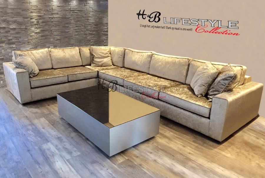 Velours hoekbank op maat hb lifestyle collection for Velours bank