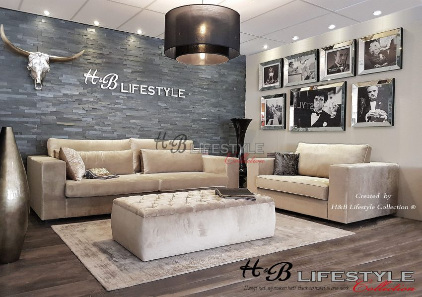 Macazz stijl banken model milano luxe fluweel stof hb lifestyle