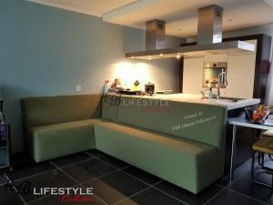 Keukenbank op maat groene stof