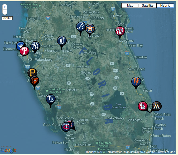 Map Florida Spring Training 2014
