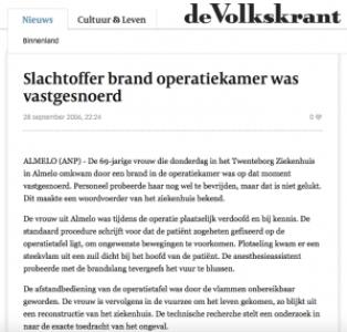 VK-20060928-Slachtoffer brand operatiekamer was vastgesnoerd