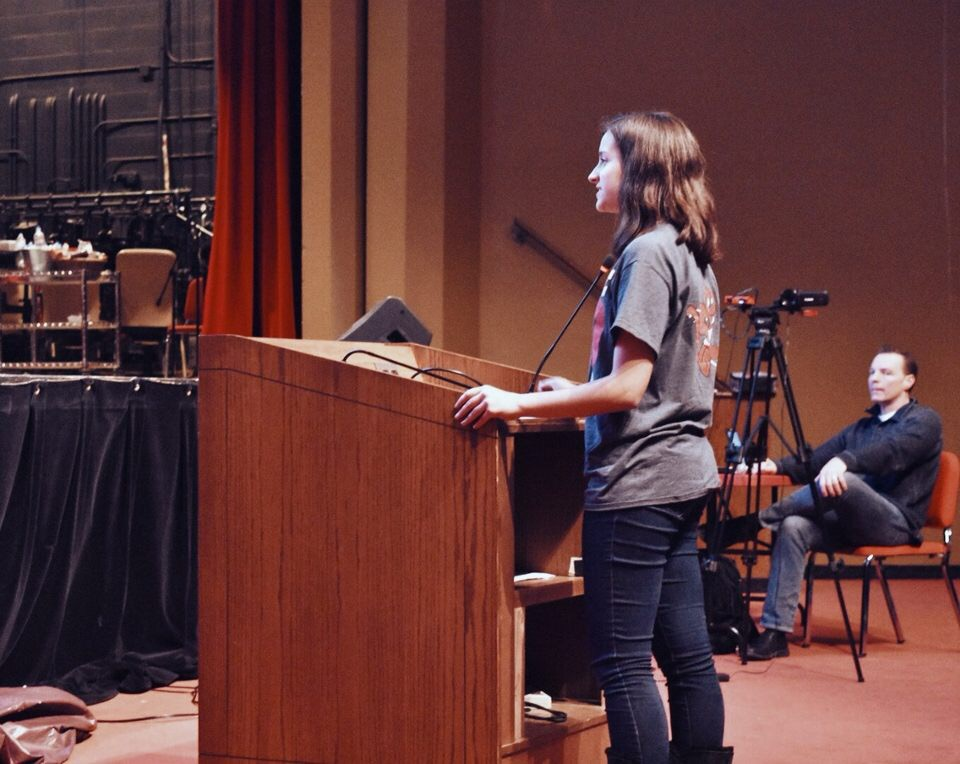 At the Jan. 23 board meeting, Parker Frankiewicz, drum major and junior, gives a speech on how music has had an impact on her life and how the extra study hall has helped with future planning.