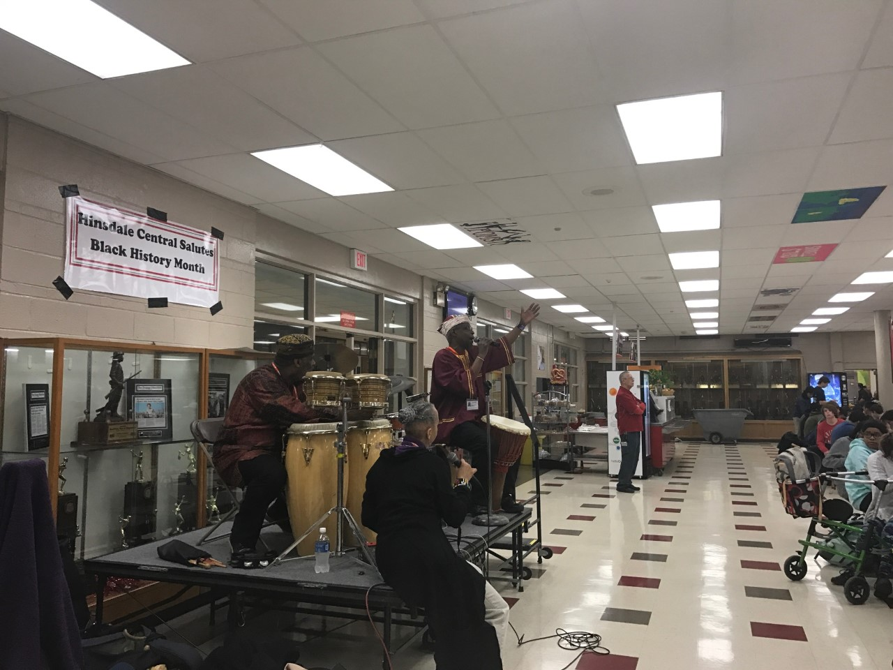 Students welcomed an African American drumming troupe to perform during the lunch periods on Feb. 7 as part of the Black History Month celebrations.