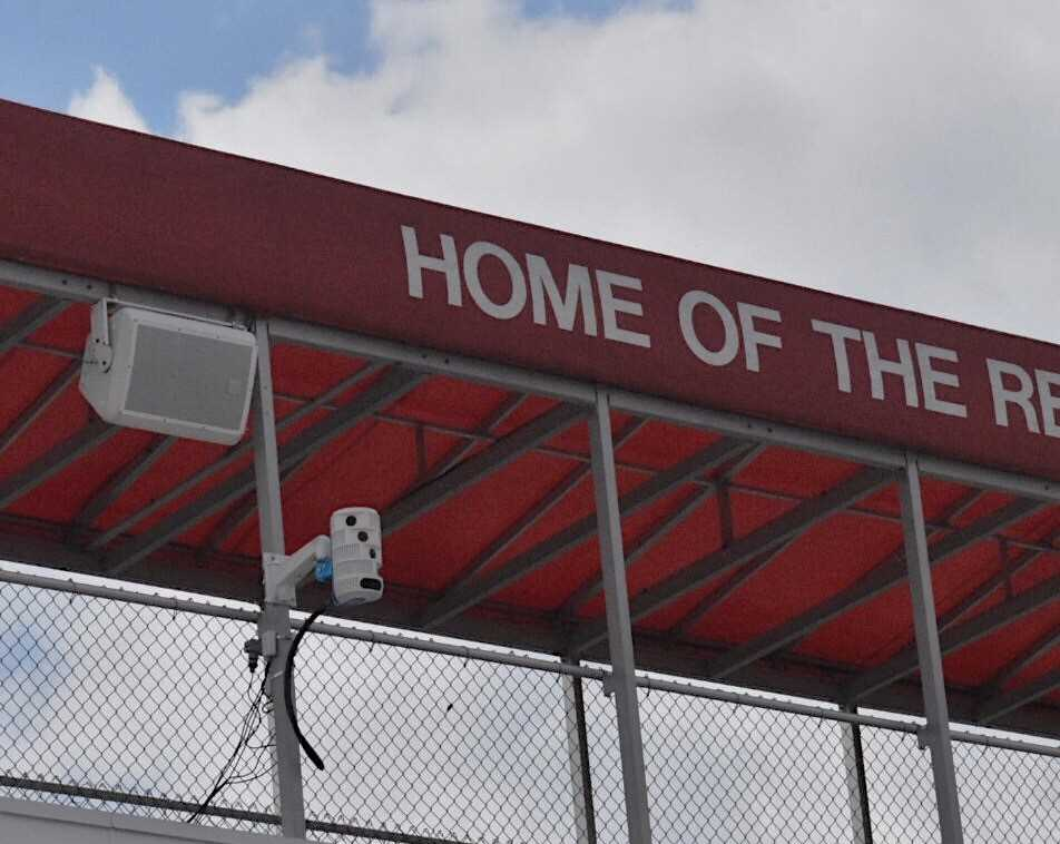 The school invested in new, state-of-the-art cameras to record games and practices, as pictured on Dickinson Field's scorebox. These recordings will help teams to better assess their performances and allow fans to receive better broadcasts.