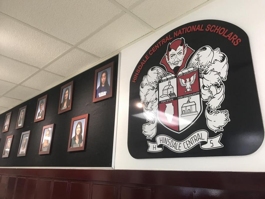 The+National+Merit+semifinalists+are+displayed+on+the+wall+outside+the+main+office.+Currently+the+wall+still+shows+the+semifinalists+from+the+class+of+2017%2C+but+the+class+of+2018+will+be+added+soon.