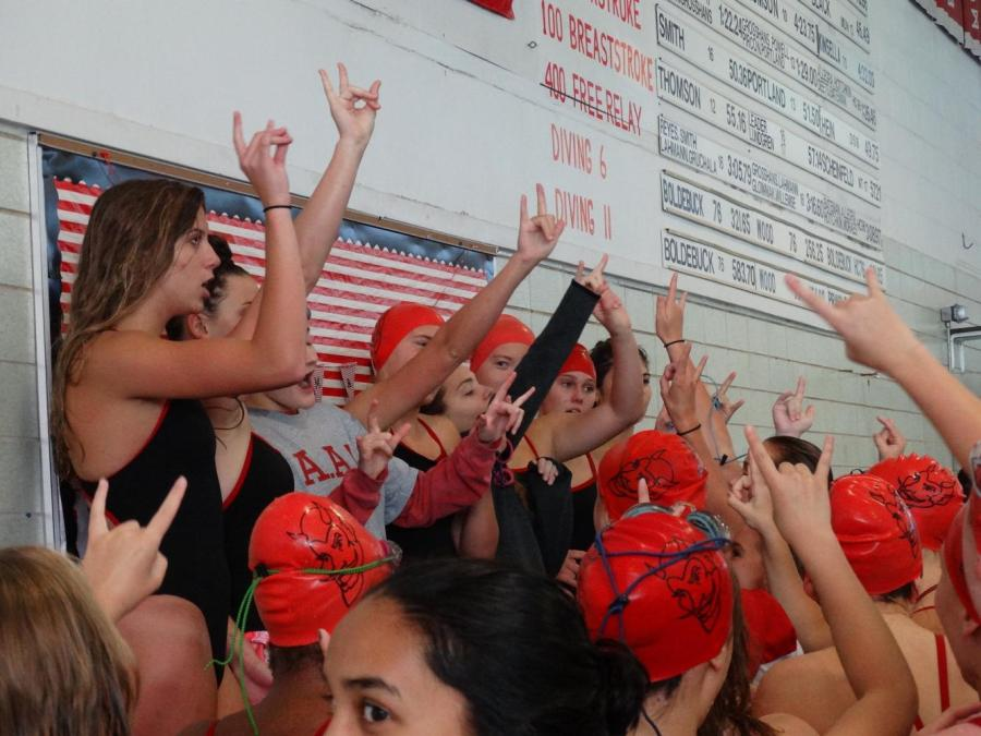 The+seniors+lead+the+rest+of+the+girls+swim+and+dive+team+in+team+cheers+during+every+meet.