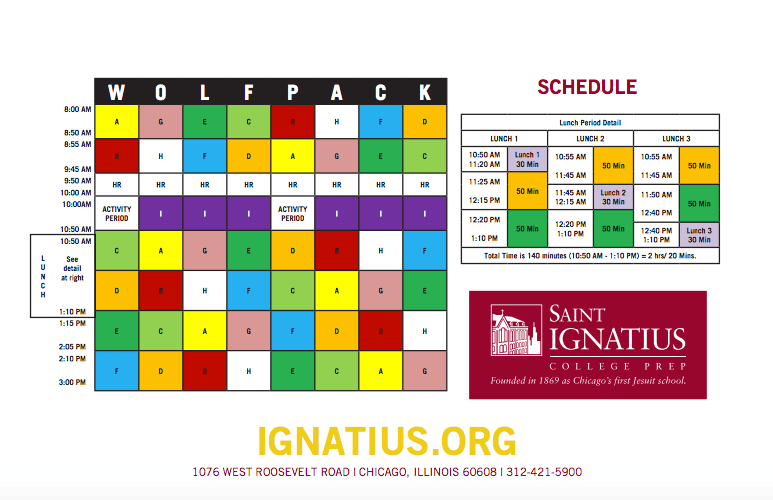 courtesy of saint ignatius college prep saint ignatius a private school in downtown chicago is known for its wolfpack block scheduling