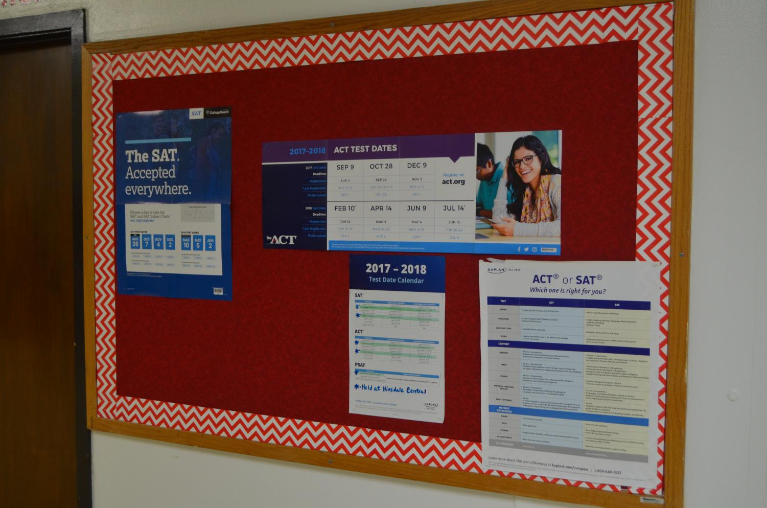 Posters outside of the Guidance Office help students by giving the dates to upcoming SAT testing days and showing the difference between the SAT and ACT.