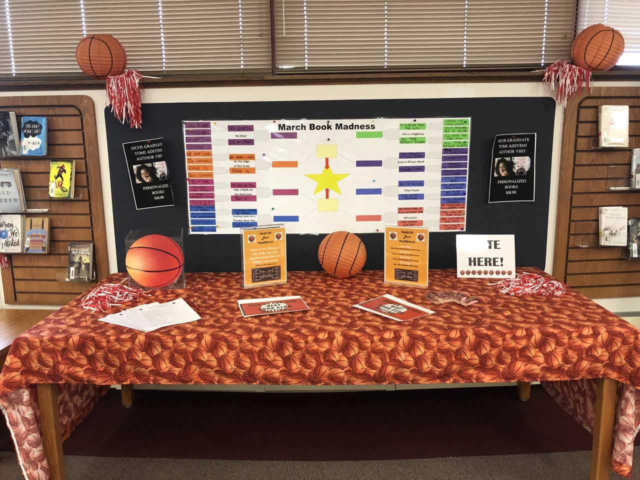 The library is full of basketball decorations in celebration of March Madness, not to be confused with the college athletic tournament.