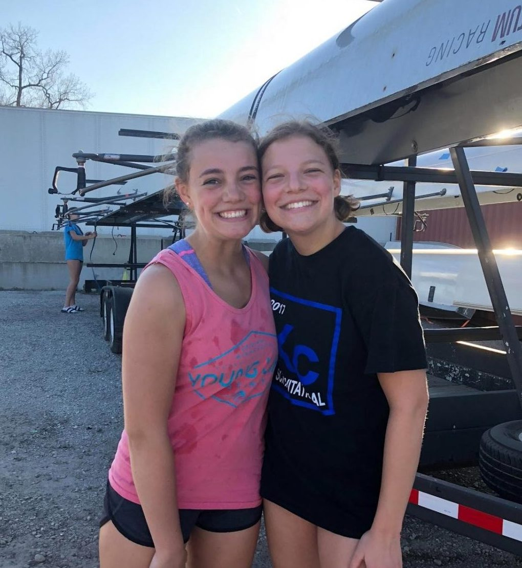 Sisters Genny and Olivia OByron row together for a local club.