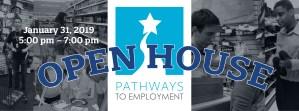 Pathways to Employment Logo with adolescent children workin in a shoe store.