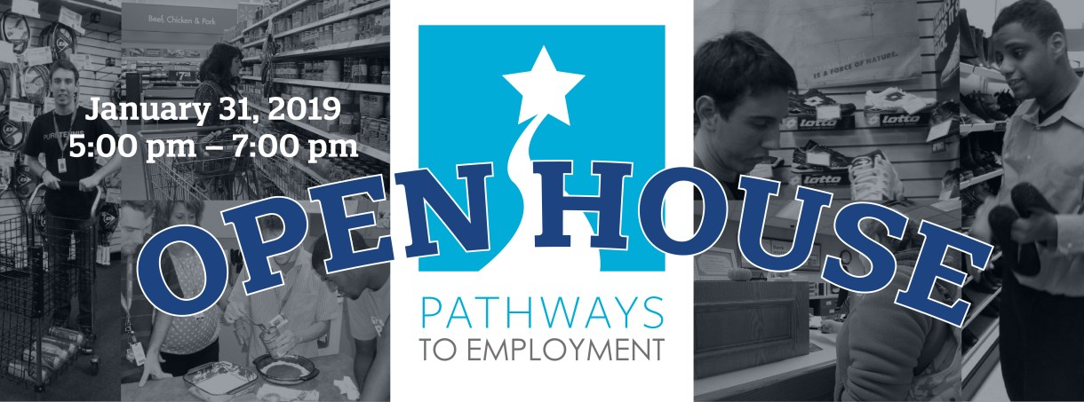 Pathways to Employment Logo with adolescent children workin in a shoe store.