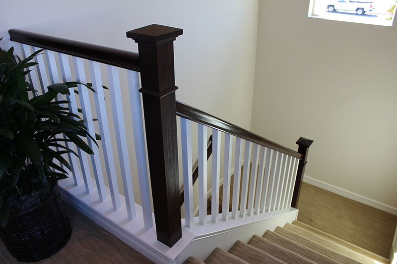 Bow Newel Post With Stain Grade Handrail Hci Railing Systems   Handrail To Newel Post   Craftsman Style   Indoor Railing   Wood   Gray Stain   White Oak