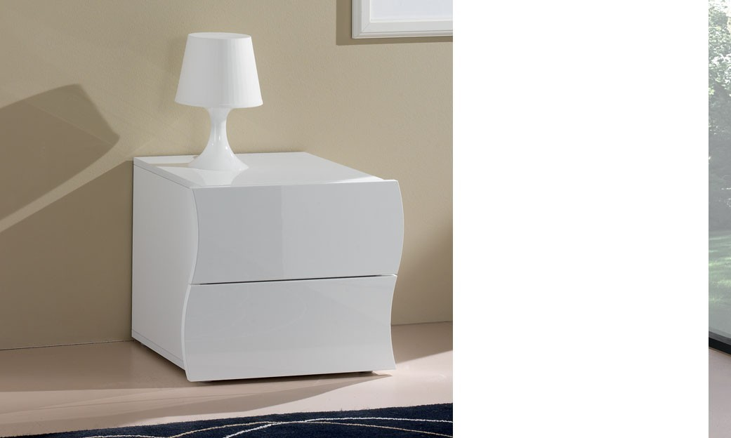 table de chevet 2 tiroirs blanc laque design swell