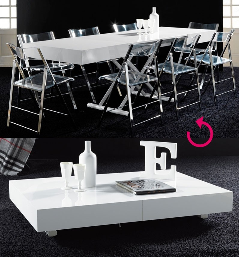 table basse relevable transformable design lucinda coloris blanc laque high gloss