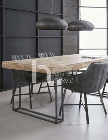 table a manger industrielle en teck et metal franklin