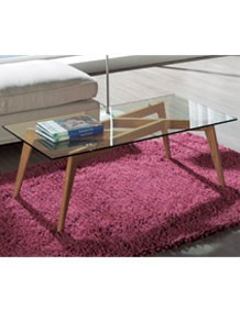 table basse en verre et en frene design rosalie
