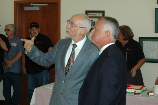 AppalCART Transportation Director Chris Turner speaks to NCDOT Secretary Tony Tata. Photo by Jesse Wood