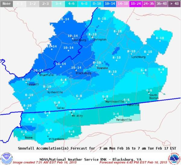 Snowfall accumulation forecast map from NWS.