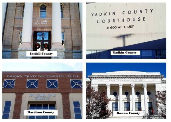 Examples of the motto on other buildings in North Carolina. Image courtesy of U.S. Motto Action Committee