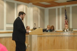 Boone Mayor Andy Ball speaks before the Watauga County Board of Commissioners. Photo by Jesse Wood
