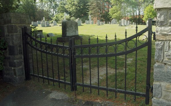The entrance gate today the cemetery off of Howard Street.