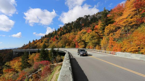 The 2016 fall foliage season in the North Carolina High Country is on track to be among the most colorful in recent years. This photograph, taken Monday of the Blue Ridge Parkway's Linn Cove Viaduct on Grandfather Mountain, shows that opportunities for photographers are now numerous. Photo by Jim Morton | Grandfather Mountain Stewardship Foundation
