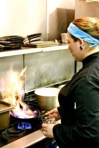 Kirsten Mitchell preparing food